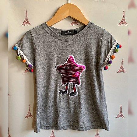 T-Shirt estrelinha rosa pompom