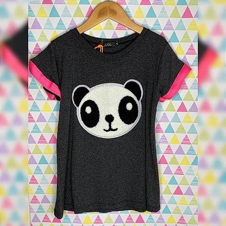 T-Shirt panda pelúcia grafite manga pink neon