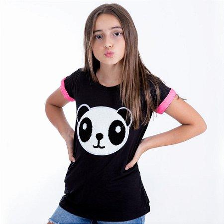 T-Shirt panda pelúcia preto manga pink neon