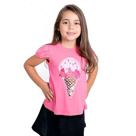 T-Shirt sorvete lantejoula