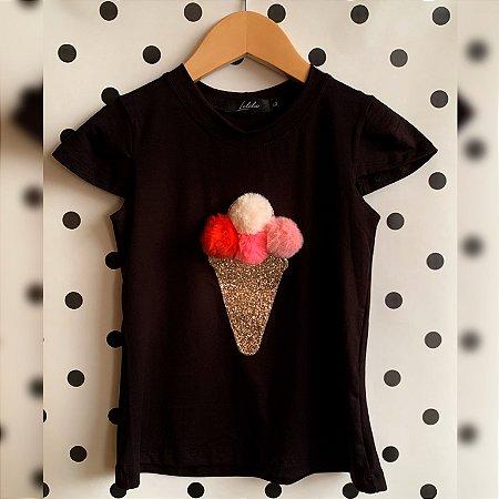 T-Shirt sorvete pompom paetê