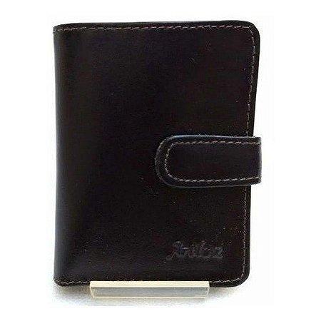 Carteira em Couro Artlux com Porta Cartão de Crédito e Notas Café Ref 026