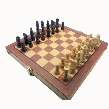 Xadrez 3 em 1 em madeira