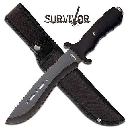Faca Survivor Outdoor c/ Serrilado no Dorso - Ref. HK-729BK