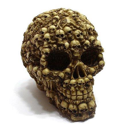 Crânio Em Resina Decorado