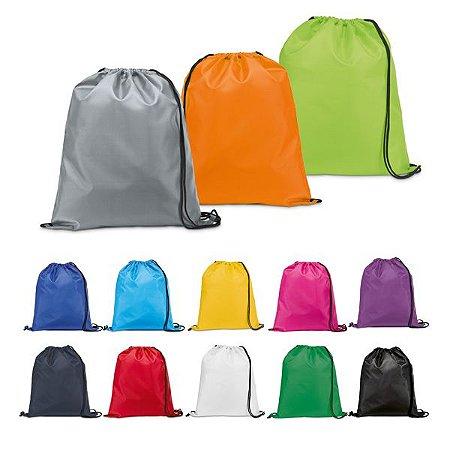 Sacochila de Nylon em diversas cores (mínimo 100 pçs)