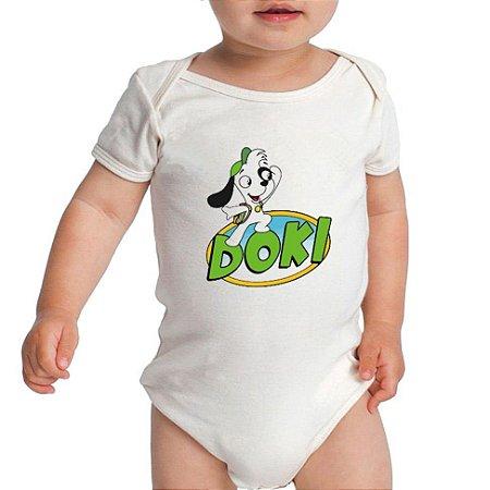 Body Branco com Desenho do Doki - Roupinhas Macacão Infantil Bodies Manga Curta Menino Menina Personalizados