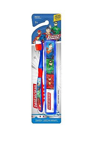 Escova Dental Infantil Liga da Justiça + Estojo Leve Para Escola