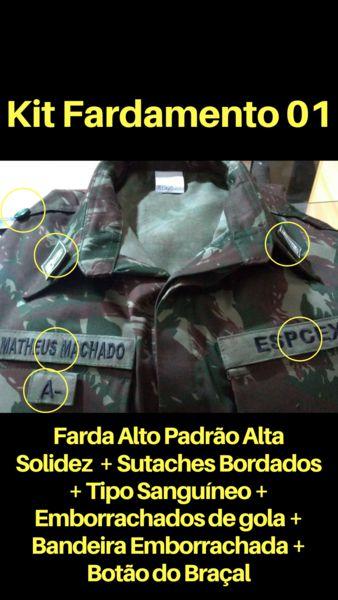 Farda EB Alto Padrão Alta Solidez Lisa Com os 3 Sutaches Bordados +  botão do braçal + insignias + bandeira emborrachada