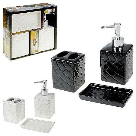 Kit Banheiro Porcelana Quadrada Com 3 Peças