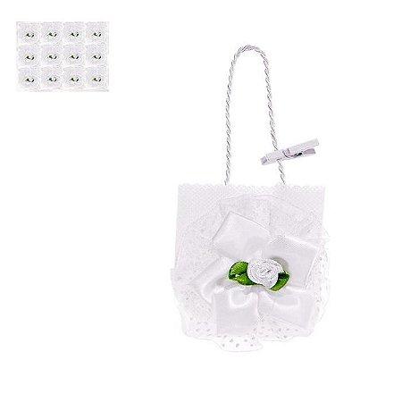 Lembrancinha Formato de Sacola com Flor Kit Com 10 Un