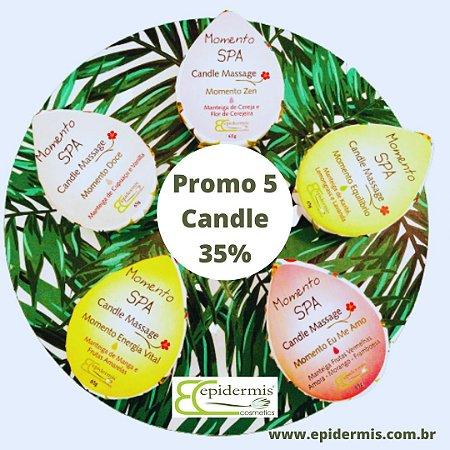 Kit Promoção 5 Candle Massage com 35% de desconto.