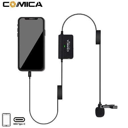 Microfone de Lapela Comica SIG.LAV V05 UC com ganho e monitoramento para dispositivos Android (USB tipo C)