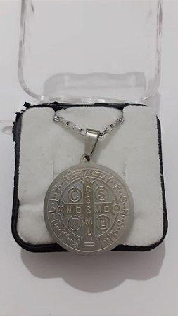Colar em aço Medalha de São Bento 25mm