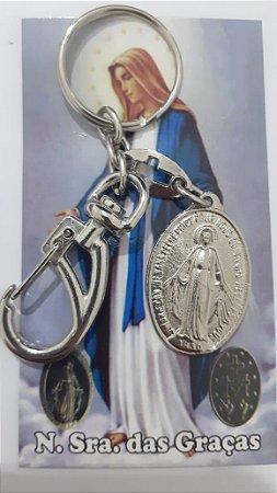 Chaveiro Nossa Senhora das Graças com mosquetão