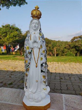 Imagem de Nossa Senhora de Fátima artesanal em decopage.