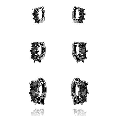 Trio de Argolinhas Pedra Retangular Preto Ródio Negro