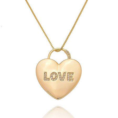 Colar Coração Love Ouro