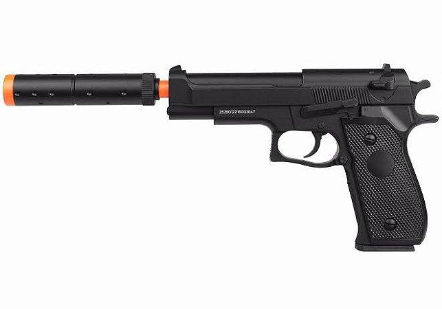 Pistola de Airsoft Spring Beretta M22 Double Eagle 6mm Com Silenciador