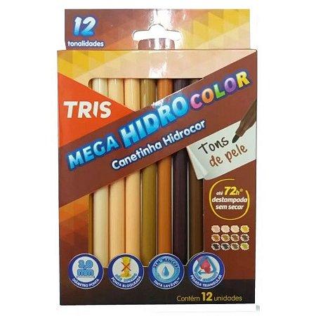 Hidrocor 12 cores MegaHidro Tons de Pele - Tris