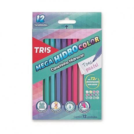 Hidrocor 12 cores MegaHidro Tons Pasteis - Tris