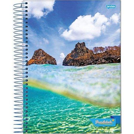 Caderno Espiral 1/4 C/F 96 Folhas Capa Flexível Brasilidade Jandaia