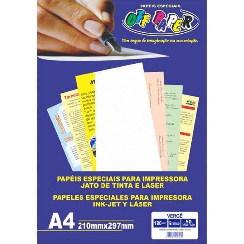 Papel Vergê Branco A4 180g 50 folhas Off paper