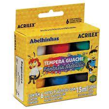Tinta Tempera Guache Metalic C/6 Cores 15ml - Acrilex