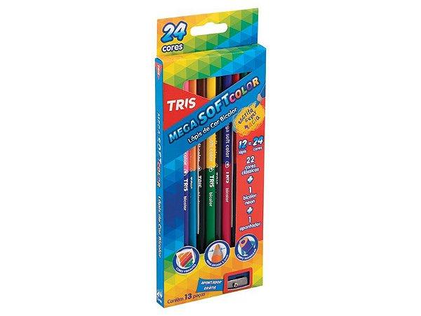Lápis de Cor Bicolor Mega Soft Color 12 lápis = 24 cores TRIS