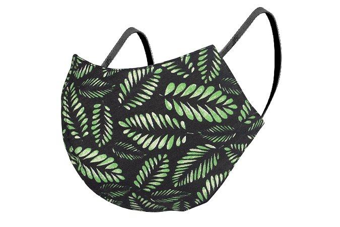 Máscara de Proteção Respiratória Tricoline - Estampa Plantas Verdes Modelo Bico de Pato