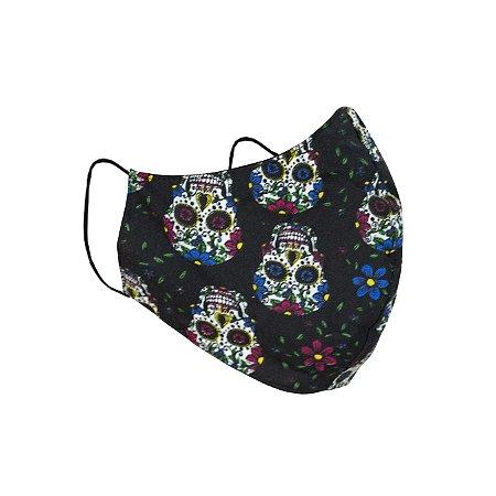 Máscara de Proteção Respiratória Tricoline - Estampa Caveira Mexicana Modelo Bico de Pato