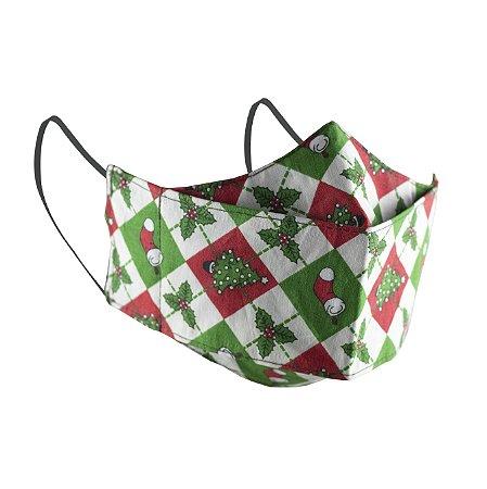 Máscara de Proteção Respiratória Tricoline - Estampa Natal Modelo 3D
