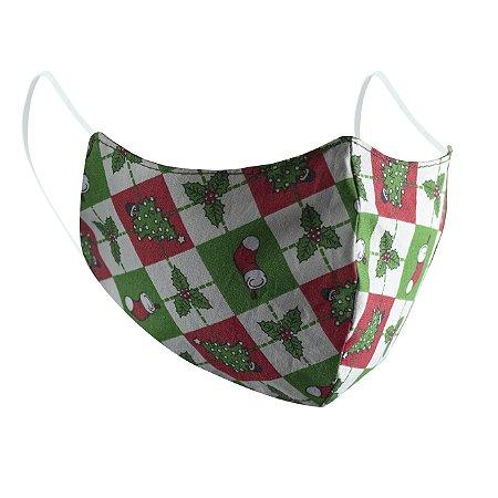 Máscara de Proteção Respiratória Tricoline - Estampa Natal Modelo Bico de Pato