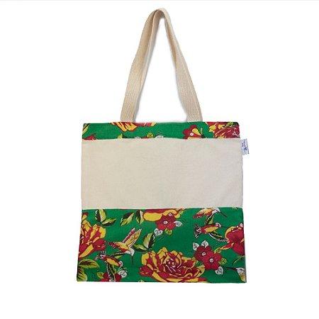 Bolsa Ecobag de Juta e Chita - Estampa Flores