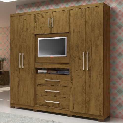 Guarda Roupa Casal Painel Tv 32 Dubai Castanho Wood
