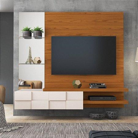 Painel Para TV 100% MDF Turim Carvarlho Americano/off White