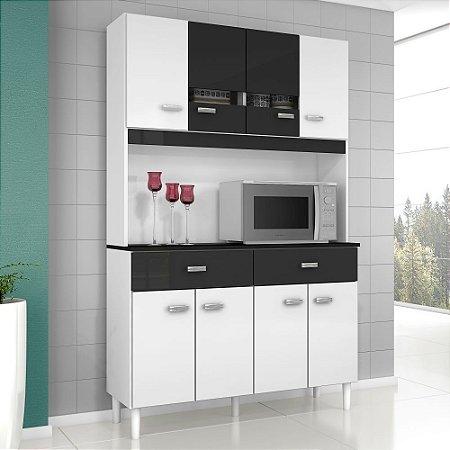 Cozinha Compacta Kit Manu 08 Portas 02 Gavetas Branco preto
