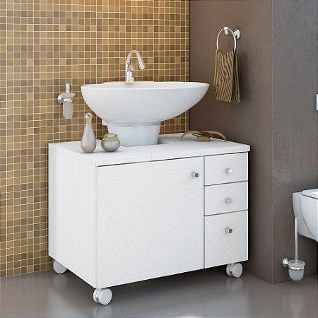 Gabinete para Banheiro 03 Gvts, 01 Porta E Rodízios Branco