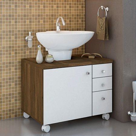 Gabinete para Banheiro 03 Gvts 01 Porta E Rodízios Ced bro