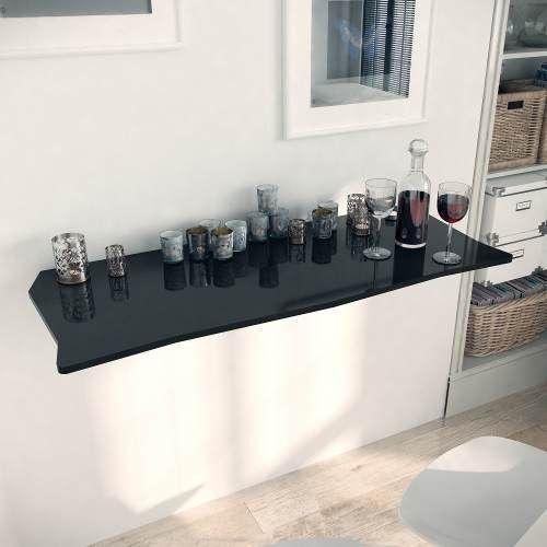Mesa Dobrável Suspensa Para Cozinha Em Mdf 110cm Preto