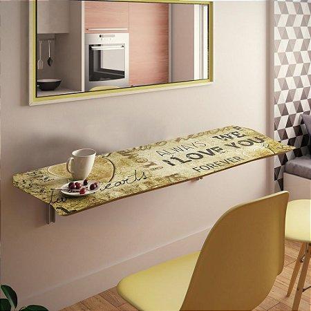 Mesa Dobrável Suspensa Para Cozinha Em Mdf 90 Cm Love