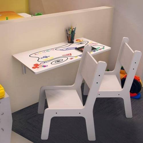 Mesa Infantil Suspensa 70x40 C/ 02 Cadeiras Kids Bra Est