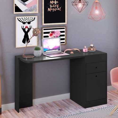 Mesa Para Notebook com Penteadeira e Espelho Desejo Preto