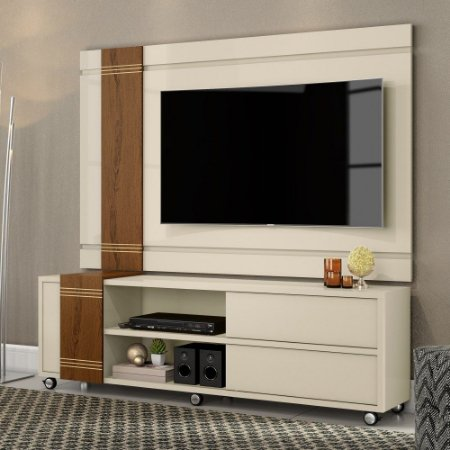 Rack com Painel 100% MDF Orion Off White Carvarlho Muniz