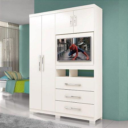 Guarda Roupa Solteiro Painel Tv De 32 P Viena Flex Color
