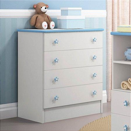 Cômoda Infantil Ou De Bebe Quarto Doce Sonho Branco azul
