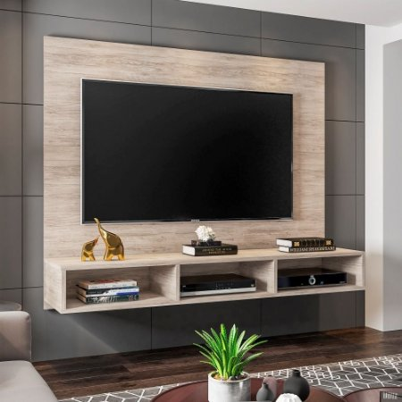 Painel Para Tv 55 Polegadas Suspenso Home Quartzo Ácacia