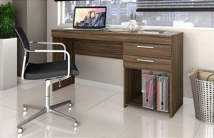 Mesa Home Office Para Escritório 02 Gavetas Notável Nogal