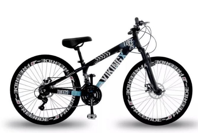 """Bicicleta Vikingx Tuff X-25 Aro 26 """", 18 Marchas – Preta e Azul"""