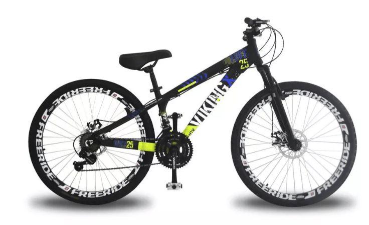"""Bicicleta Vikingx Tuff X-25 Aro 26 """", 18 Marchas –  Preta e Amarelo"""